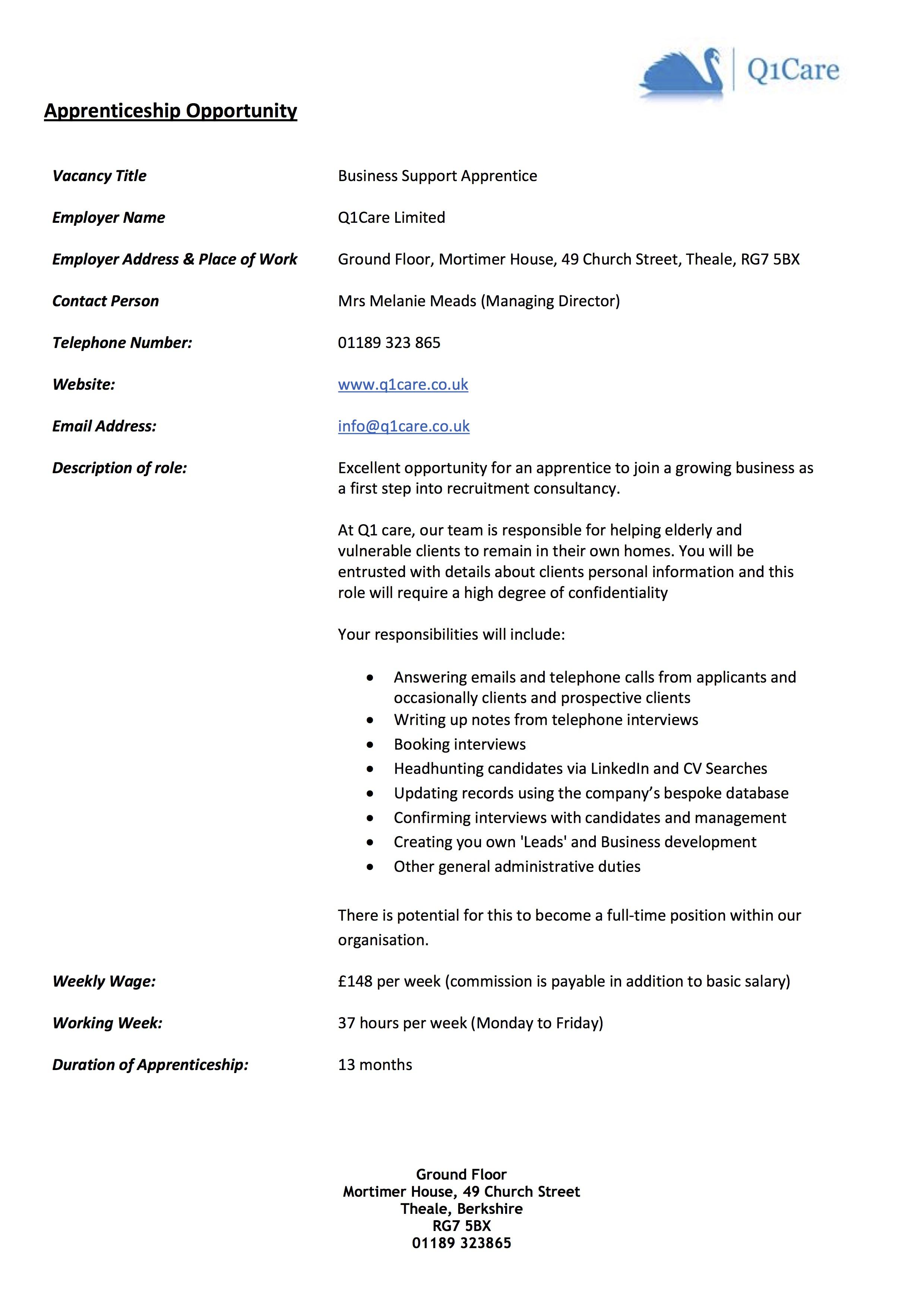 Q1Care Apprentice Opportunity 0616