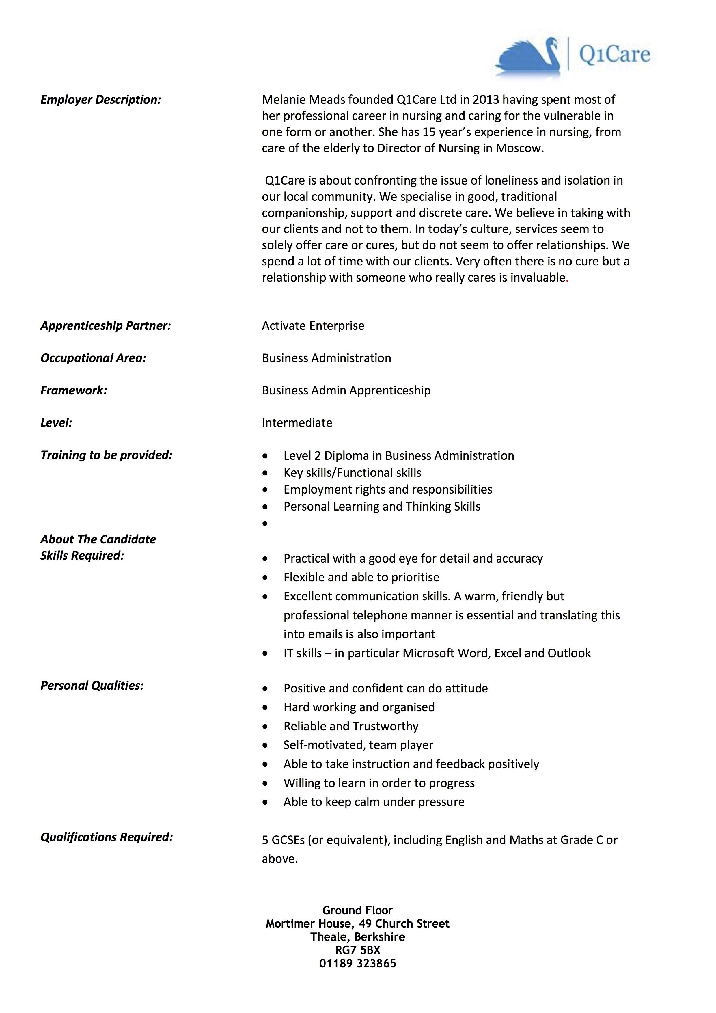 Q1Care Apprentice Opportunity 06162